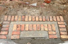 Steps with a brick boarder